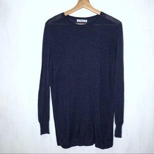 Zara Knit Blue Side Slit Jumper Sweater M